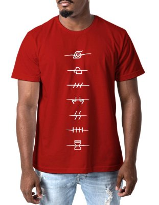 Camiseta Masculina Naruto Shippuden Camisa Anime Masculina Vermelha