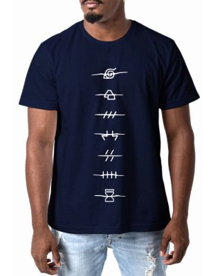 Camiseta Masculina Naruto Shippuden Camisa Anime Masculina Azul