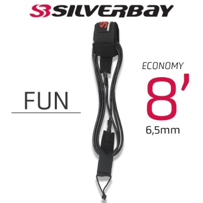 Leash Surf SILVERBAY ECONOMY FUN 8' 6,5mm - Preto