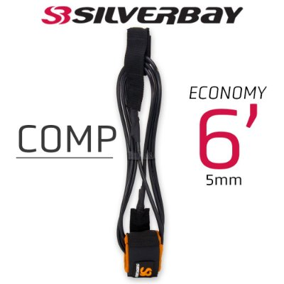 Leash Surf SILVERBAY ECONOMY COMP 6' 5mm - Preto/Laranja