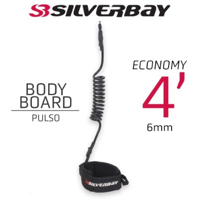 Leash Surf SILVERBAY ECONOMY BODYBOARD PULSO 4' 6mm - Preto