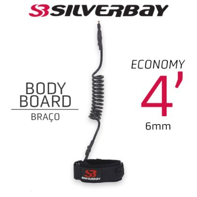 Leash Surf SILVERBAY ECONOMY BODYBOARD BRAÇO 4' 6mm - Preto