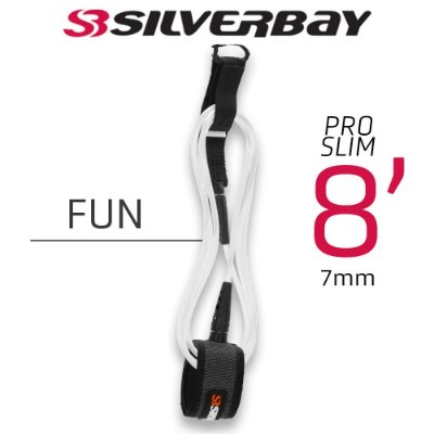 Leash Surf SILVERBAY PRO SLIM FUN 8' 7mm - Branco
