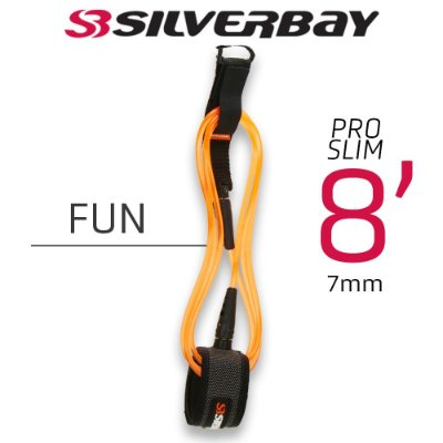 Leash Surf SILVERBAY PRO SLIM FUN 8' 7mm - Laranja