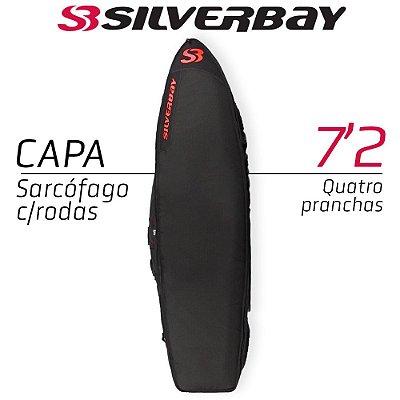Capa Sarcófago SILVERBAY PREMIUM Com Rodas para Quatro Pranchas 7'2 - Preto