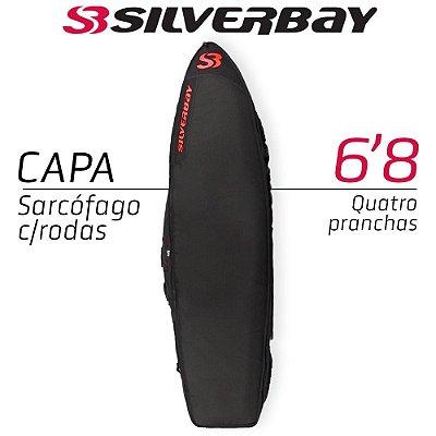 Capa Sarcófago SILVERBAY PREMIUM Com Rodas para Quatro Pranchas 6'8 - Preto