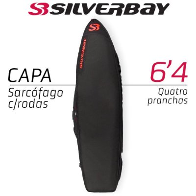 Capa Sarcófago SILVERBAY PREMIUM Com Rodas para Quatro Pranchas 6'4 - Preto