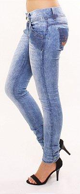 Skinny jeans confort com bolso relogio