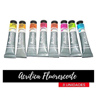 Tinta Acrílica Fluorescente Corfix 20ml (8 unidades)