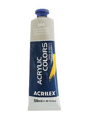 Tinta Acrilica Metalica Acrilex 59ml 386 - Prata Iridescente