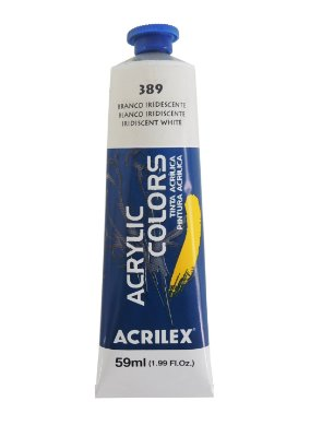 Tinta Acrilica Metalica Acrilex 59ml 389 - Branco Iridescente