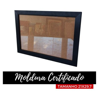 Moldura para Certificado Preta com Vidro 21x29,7 (unidade promocional)