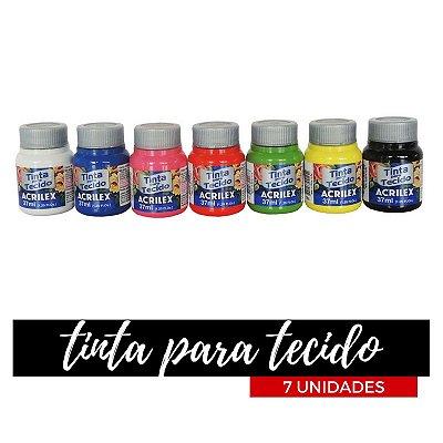 Tinta para Tecido Acrilex 37ml - Degradê Primário (07 unidades)