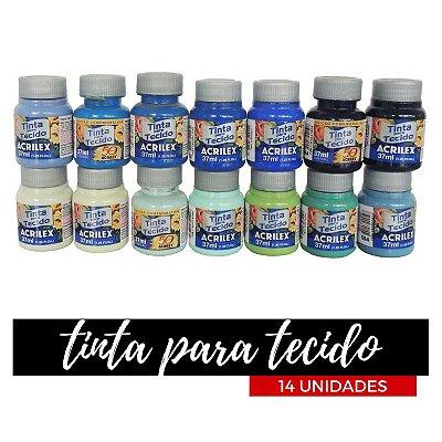 Tinta para Tecido Acrilex 37ml - Degradê Céu (14 unidades)