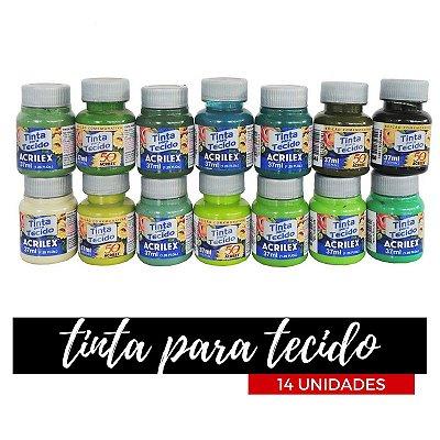 Tinta para Tecido Acrilex 37ml - Degradê Amazônia (14 unidades)