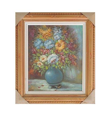 Quadro pintado à mão com Moldura - Rosa Envelhecida 72x82