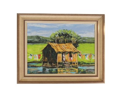 Quadro pintado à mão com Moldura - Lago Moisés 83x102