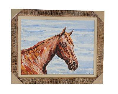 Quadro pintado à mão com Moldura - Cavalo Moisés 80x100