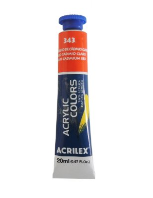 Tinta Acrilica Acrilex 20ml 343 - Vermelho de Cadmio Claro