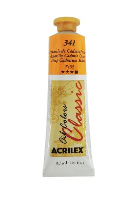 Tinta Oleo Acrilex 37ML 341 - Amarelo de Cadmio Escuro