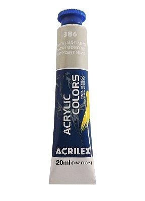 Tinta Acrilica Metalica Acrilex 20ml 386 - Prata Iridescente