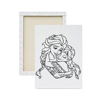 Tela para pintura infantil - Elsa e Anna Abraçadas