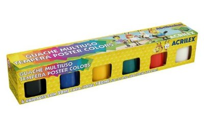 Guache Multiuso 30ml - Tinta Poster Colors 6 cores