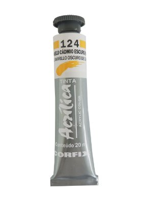 Tinta Acrilica Corfix 20ml 124 Amarelo Cadmio Escuro