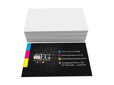 Cartão de Visita Couchê 250g 5x9cm 4x0 Verniz Total Frente 1000 un