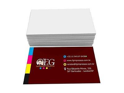 Cartão de Visita Couchê 250g 5x9cm 4x0 Verniz Total Frente 100 un