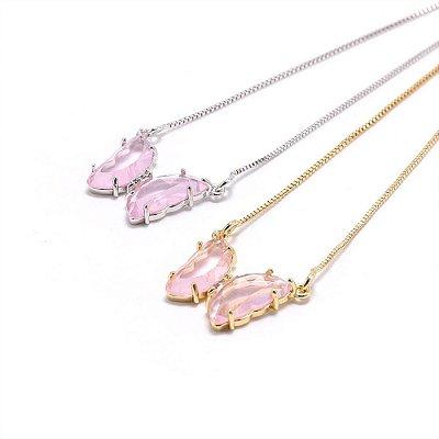 Conjunto colar e Brinco borboleta Rosa cristal Vidro lapidado folheado ouro 18k