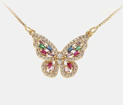 Colar borboleta com pedras cravejado com micro zircônia cor Cristal e vidro lapidado mix de cores folheado a ouro 18k