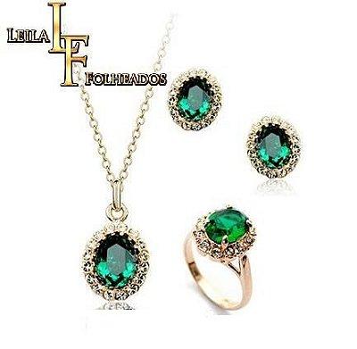 conjunto estilo esmeralda com cristais austríacos semijoias