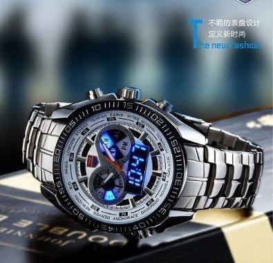 Relógio madculino TVG prata em aço analógico e digital