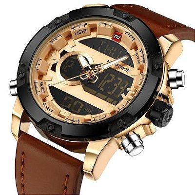 Relógio Dual Time NAVIFORCE pulseira de couro