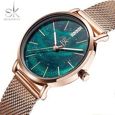 Relógios Shengke Dourado fundo Azul e Verde Feminino