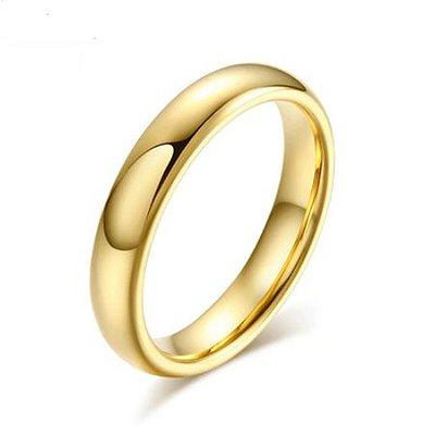 Aliança de Tungstênio 4mm, super resistente folheada a ouro 18k