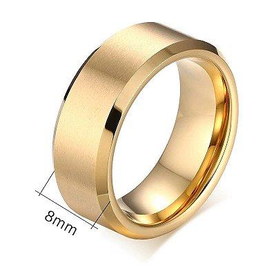 Linda aliança de tungstênio não arranha 8mm, folheada a ouro 18k
