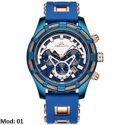 Relógio masculino esportivo Megalith detalhe dourado barato em promoção