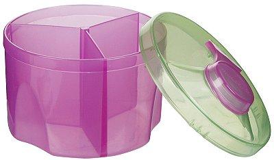 Kit com 2 potes dosadores de leite em pó, Rosa e verde, da Munchkin