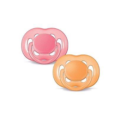 Chupetas Free flow ortodôntica, tamanho 2, 6-18 meses, da  Philips Avent (embalagem com 2 unidades nas cores rosa e laranja)