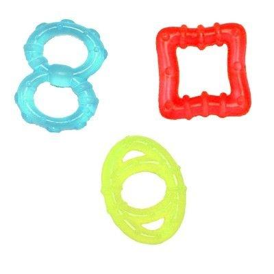 Mordedores Formas Geométricas, com água, da Bright Starts (para idade a partir de 3 meses) com 3 unidades
