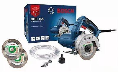 Serra Mármore Bosch Profissional 1500w 127v GDC151 + 2 Discos Grátis