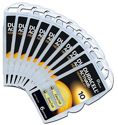 60 Baterias Aparelho Auditivo DA10 / Pr48 - Duracell