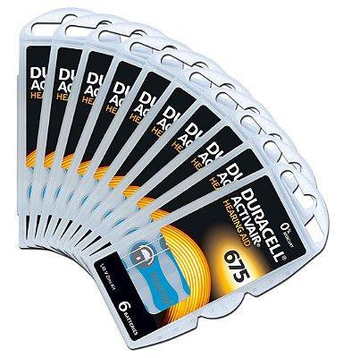 60 Baterias Aparelho Auditivo DA675 / Pr44 - Duracell