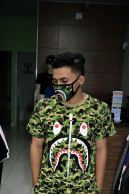 Camiseta BAPE SHARK 'Camo Green' - Pronta Entrega
