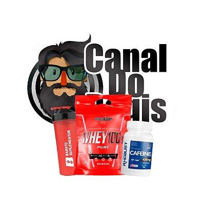 KIT REGIS - Cafeíne 420mg (60 cáps.) Rhobust + Whey 100% Pure (900g) Integral Medica + Coqueteleira Barato Suplementos