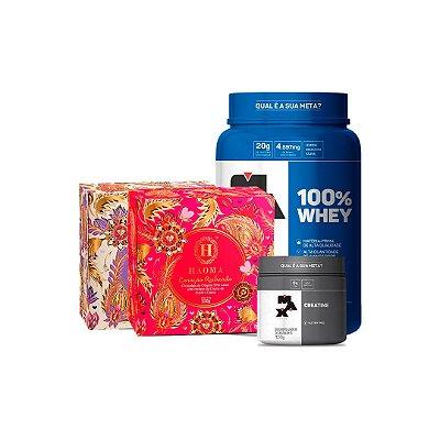 KIT Coração Recheado ZERO açúcar c/ Whey Protein (320g) - Haoma + 100% Whey POTE (900g) - Max Titanium + Creatine (100g) - Max Titanium