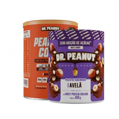 KIT Peanut Coffee Mocaccino (250g) + Pasta de Amendoim C/ Whey Sabor AVELÃ (650g) - Dr. Peanut