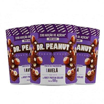 KIT 3 Pastas de Amendoim C/ Whey Sabor Avelã (650g cada) - Dr. Peanut